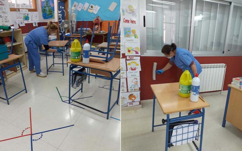 Limpieza de los colegios